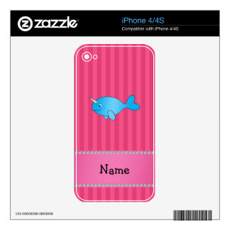 Personalized name blue narwhal pink stripes iPhone 4S skins