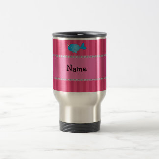 Personalized name blue narwhal pink stripes travel mug