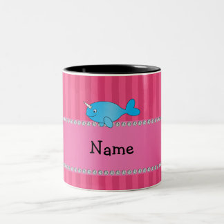 Personalized name blue narwhal pink stripes Two-Tone coffee mug