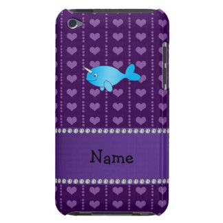 Personalized name blue narwhal purple hearts barely there iPod cases