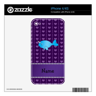 Personalized name blue narwhal purple hearts iPhone 4 skins