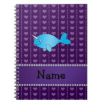 Personalized name blue narwhal purple hearts journal