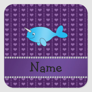 Personalized name blue narwhal purple hearts square stickers