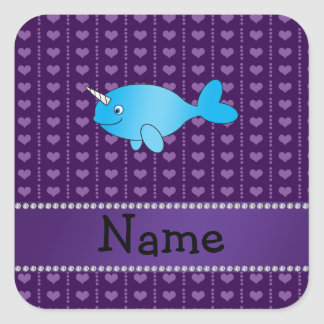 Personalized name blue narwhal purple hearts square sticker