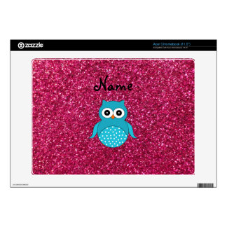 Personalized name blue owl pink glitter acer chromebook skins