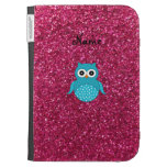Personalized name blue owl pink glitter cases for kindle