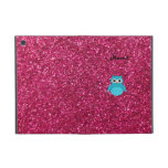 Personalized name blue owl pink glitter iPad mini cover