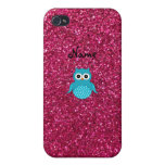 Personalized name blue owl pink glitter iPhone 4 cases