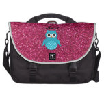 Personalized name blue owl pink glitter bag for laptop