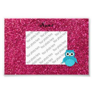 Personalized name blue owl pink glitter photo art