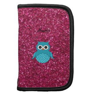 Personalized name blue owl pink glitter folio planner