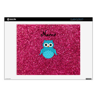 Personalized name blue owl pink glitter laptop skin