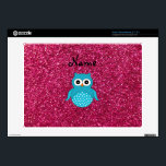 """Personalized name blue owl pink glitter skin for acer chromebook<br><div class=""""desc"""">Create your own custom Personalized with a name, monogram,  or initials or saying cartoon cute  blue owl bird with a pink glitter pattern (faux not real glitter)</div>"""