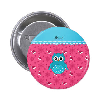 Personalized name blue owl pink santa hats 2 inch round button