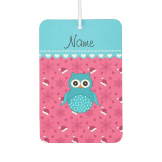 Personalized name blue owl pink santa hats