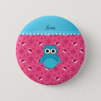 Personalized name blue owl pink santa hats button