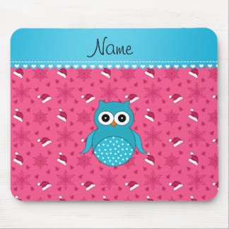 Personalized name blue owl pink santa hats mouse pad