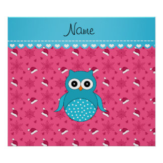 Personalized name blue owl pink santa hats poster