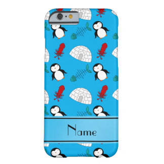 Personalized name blue penguins igloo fish squid barely there iPhone 6 case