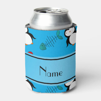 Personalized name blue penguins igloo fish squid can cooler