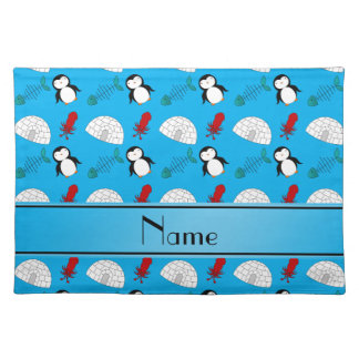 Personalized name blue penguins igloo fish squid cloth placemat