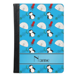 Personalized name blue penguins igloo fish squid iPad air case