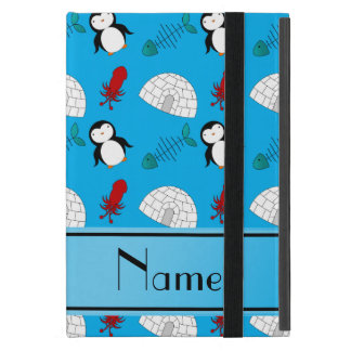 Personalized name blue penguins igloo fish squid iPad mini cover