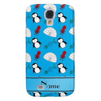 Personalized name blue penguins igloo fish squid samsung galaxy s4 case