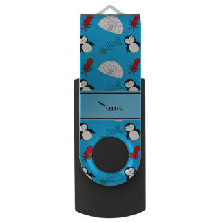 Personalized name blue penguins igloo fish squid USB flash drive