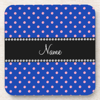 Personalized name Blue pink diamonds Drink Coasters