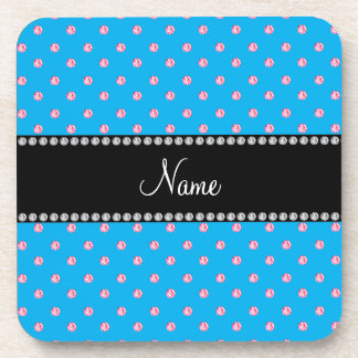 Personalized name blue pink diamonds coaster