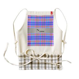 Personalized name blue pink plaid grey stripe zazzle HEART apron