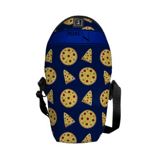 Personalized name blue pizzas messenger bag