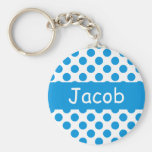 Personalized Name Blue Polka Dots Keychains