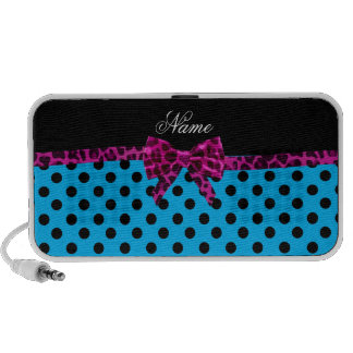 Personalized name blue polka dots pink bow iPhone speaker
