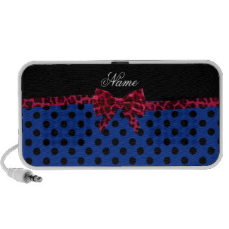 Personalized name blue polka dots pink leopard bow mp3 speakers