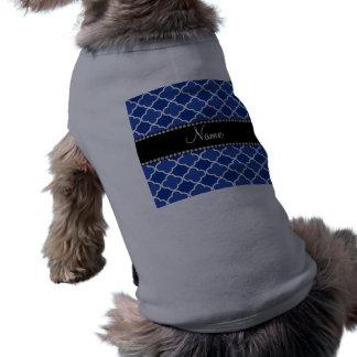 Personalized name blue quatrefoil pattern pet t-shirt