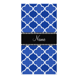 Personalized name blue quatrefoil pattern photo card