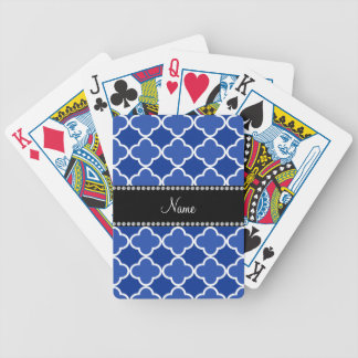 Personalized name blue quatrefoil pattern playing cards