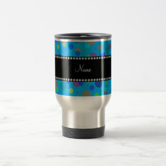 Personalized name blue rainbow polka dots 15 oz stainless steel travel mug