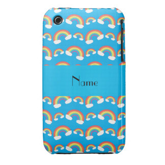 Personalized name blue rainbows pattern iPhone 3 cover