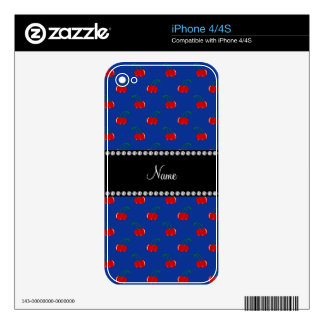 Personalized name blue red cherry pattern iPhone 4 skins