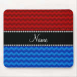 Personalized name blue red chevrons mouse pad