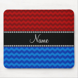 Personalized name blue red chevrons mousepads