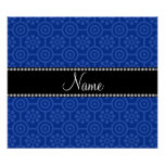 Personalized name blue retro flowers print