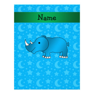 Personalized name blue rhino blue stars and moons personalized letterhead