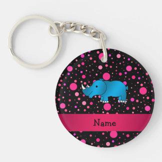 Personalized name blue rhino pink polka dots keychain