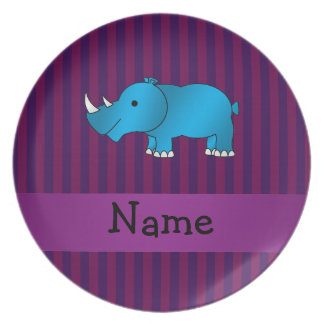 Personalized name blue rhino purple stripes dinner plate