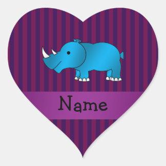 Personalized name blue rhino purple stripes heart sticker