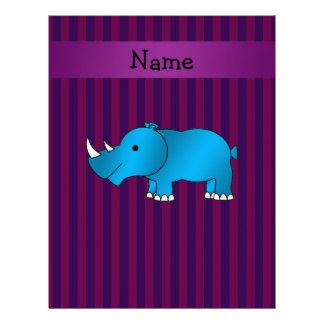 Personalized name blue rhino purple stripes letterhead